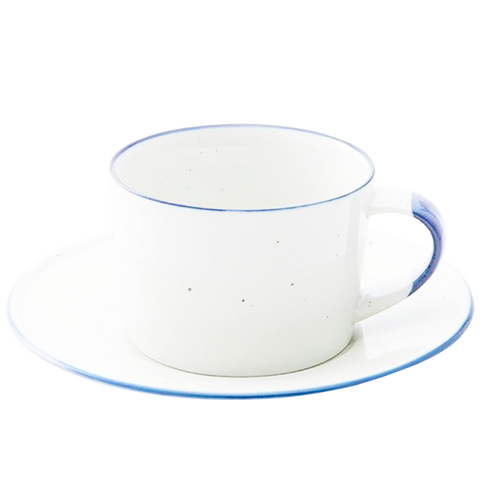 PORCELAIN SPOTTED COFFEE CUP WITH SAUCER