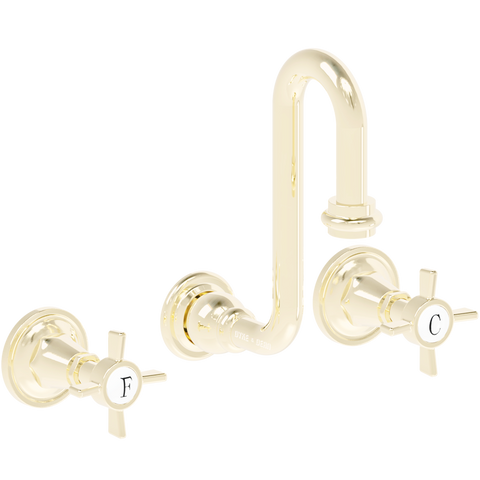 WALL MOUNTED SWAN SPOUT CROSS HANDLE TAPS