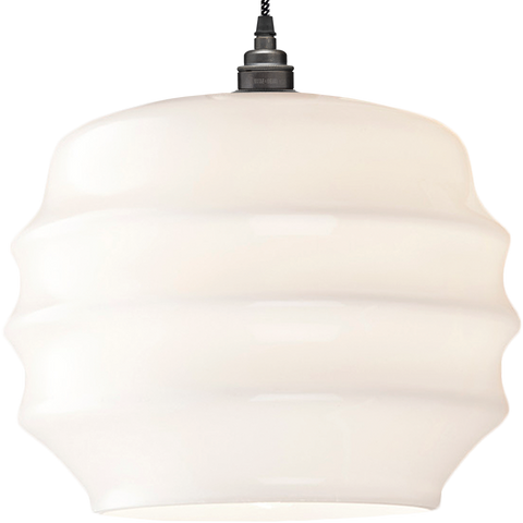 RIPPLE OPALINE PENDANT SHADE LARGE - GLASS PENDANTS - DYKE & DEAN  - Homewares | Lighting | Modern Home Furnishings