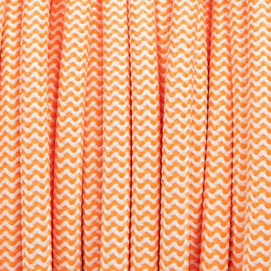 ORANGE & WHITE ZIG ZAG FABRIC CABLE - FABRIC CABLE - DYKE & DEAN  - Homewares | Lighting | Modern Home Furnishings