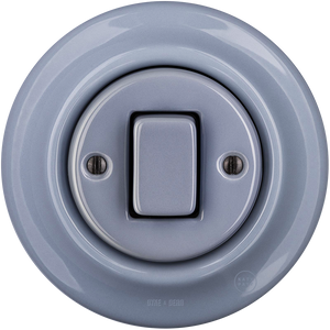 PORCELAIN WALL SWITCH ASH GREY FAT BUTTON