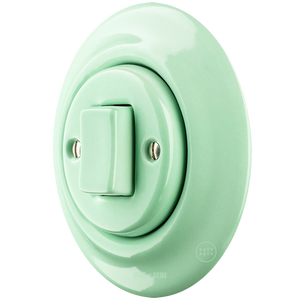 PORCELAIN WALL LIGHT SWITCH MINT FAT BUTTON