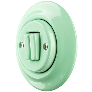 PORCELAIN WALL LIGHT SWITCH MINT DOUBLE - PORCELAIN WALL SWITCHES - DYKE & DEAN  - Homewares | Lighting | Modern Home Furnishings