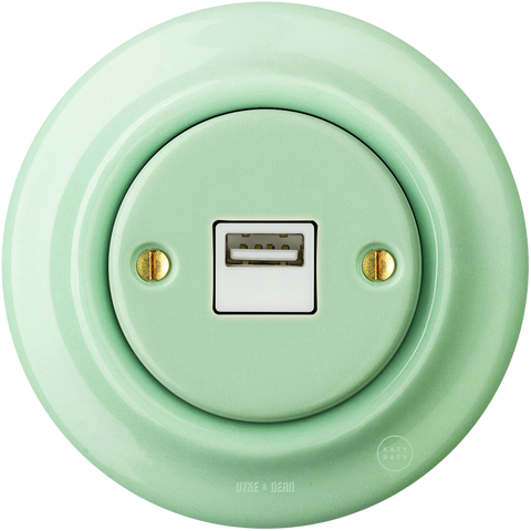PORCELAIN WALL USB CHARGER MINT - PORCELAIN WALL SOCKETS - DYKE & DEAN  - Homewares | Lighting | Modern Home Furnishings