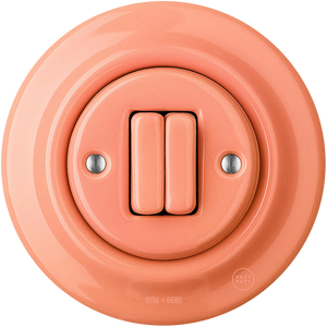 PORCELAIN WALL SWITCH SALMON DOUBLE
