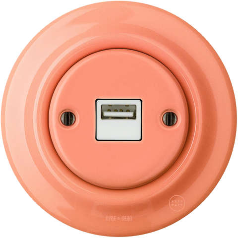 PORCELAIN WALL USB CHARGER SALMON - PORCELAIN WALL SOCKETS - DYKE & DEAN  - Homewares | Lighting | Modern Home Furnishings