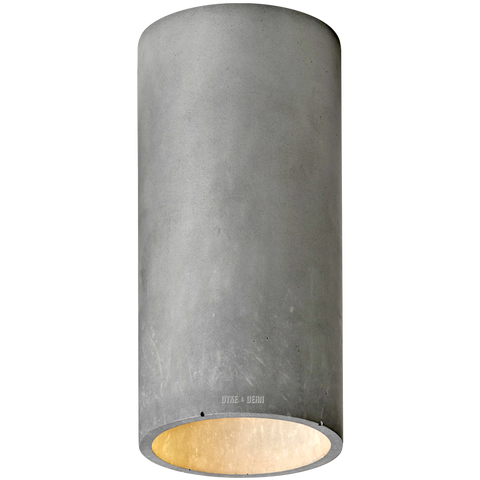 CONCRETE CYLINDER CEILING LIGHT DARK GREY
