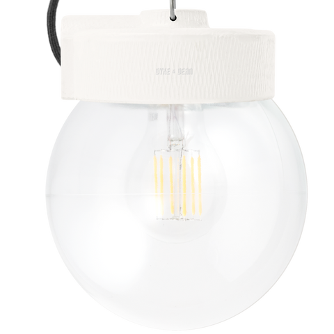 OFF WHITE CERAMIC PENDANT CLEAR GLOBE