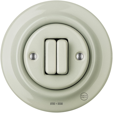 PORCELAIN WALL LIGHT SWITCH GREY GREEN DOUBLE