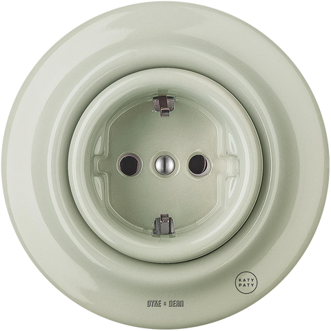 PORCELAIN WALL SOCKET GREY GREEN SCHUKO