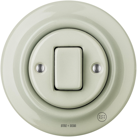 PORCELAIN WALL SWITCH GREY GREEN FAT BUTTON