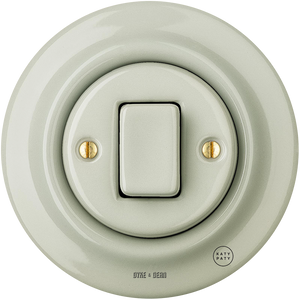 PORCELAIN WALL LIGHT SWITCH GREY GREEN FAT BUTTON