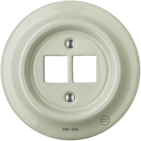 PORCELAIN WALL SOCKET GREY GREEN PC/USB