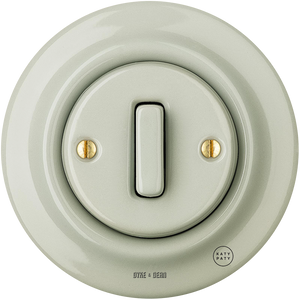 PORCELAIN WALL SWITCH GREY GREEN SLIM BUTTON