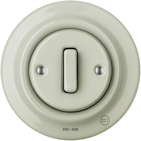 PORCELAIN WALL LIGHT SWITCH GREY GREEN SLIM BUTTON