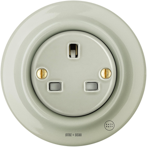 PORCELAIN WALL SOCKET GREY GREEN UK