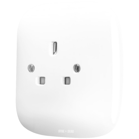 SQUARE PORCELAIN WALL SOCKET WHITE UK