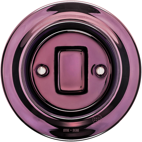 PORCELAIN WALL SWITCH PURPLE FAT BUTTON