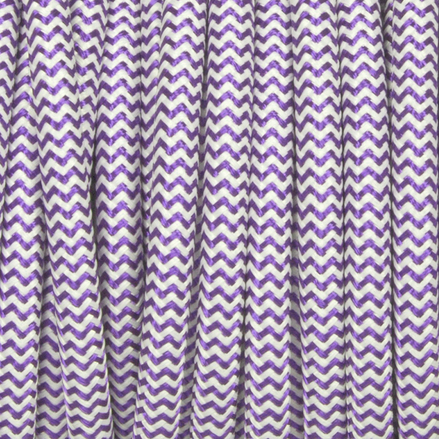 PURPLE & WHITE ZIG ZAG FABRIC CABLE