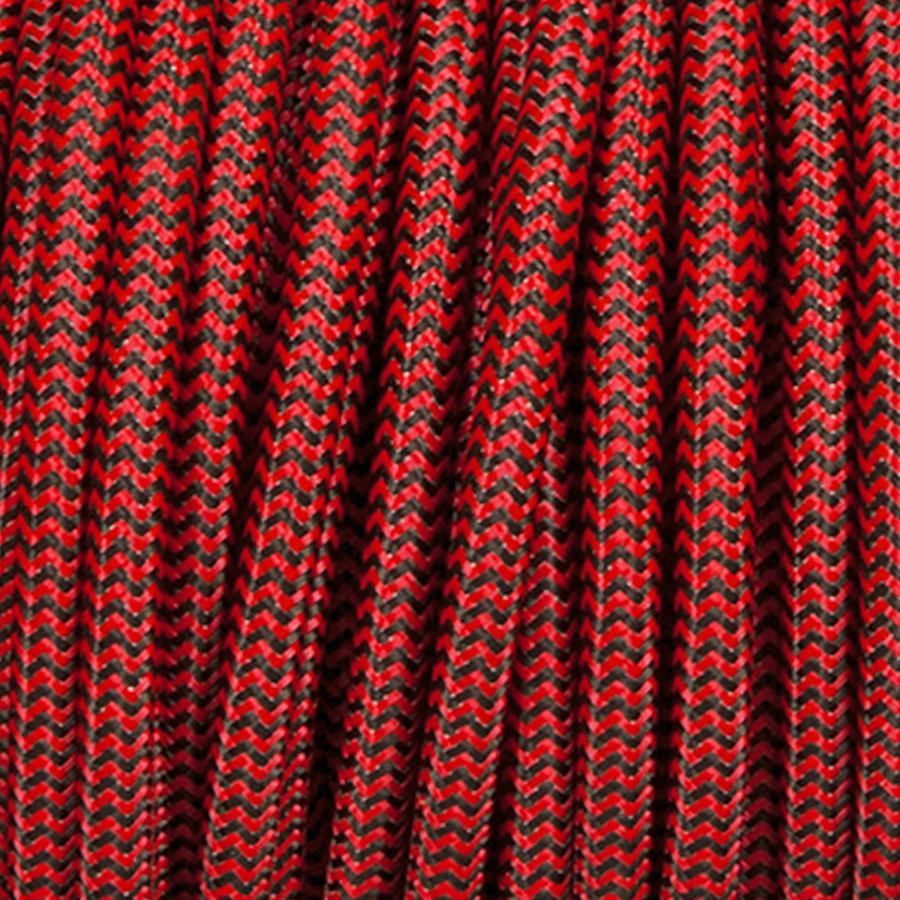 BLACK & RED ZIG ZAG ROUND FABRIC CABLE