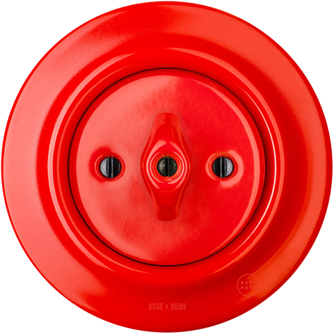 PORCELAIN WALL LIGHT SWITCH RED ROTARY