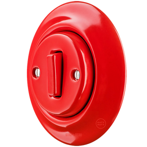 PORCELAIN WALL LIGHT SWITCH RED SLIM BUTTON