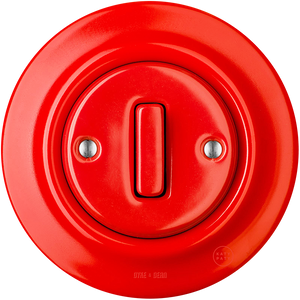 PORCELAIN WALL SWITCH RED SLIM BUTTON