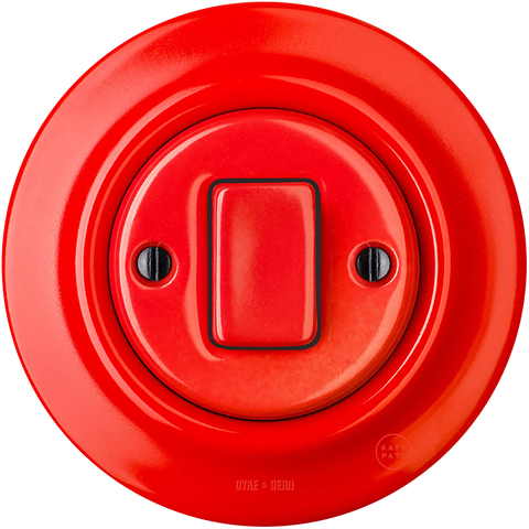 PORCELAIN WALL LIGHT SWITCH RED FAT BUTTON