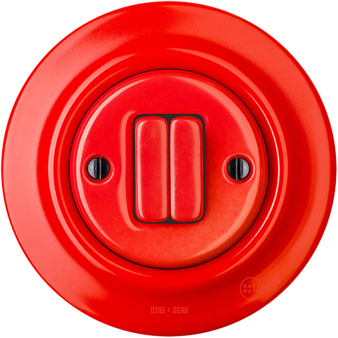 PORCELAIN WALL SWITCH RED DOUBLE