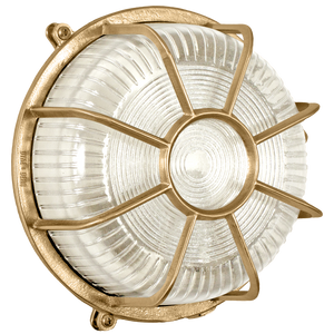 ROUND CAGED BRASS BULKHEAD LAMP