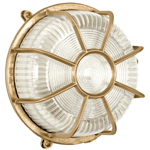 ROUND CAGED BRASS BULKHEAD LAMP - BATHROOM / OUTDOOR LIGHTS - DYKE & DEAN  - Homewares | Lighting | Modern Home Furnishings