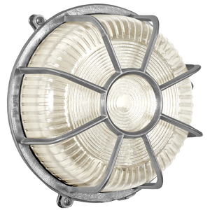 ROUND CAGED NICKEL BULKHEAD LAMP