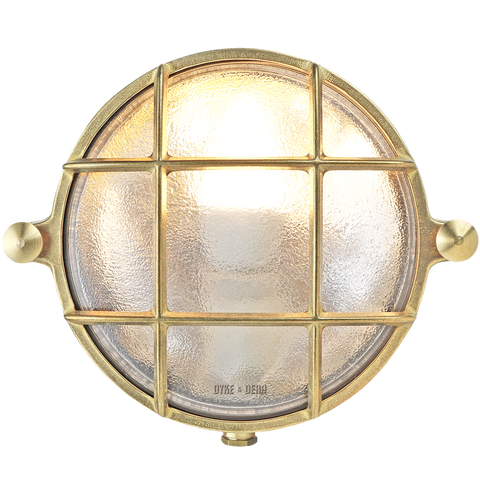 SMALL ROUND BRASS BULKHEAD LAMP - BATHROOM / OUTDOOR LIGHTS - DYKE & DEAN  - Homewares | Lighting | Modern Home Furnishings