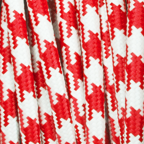 RED & WHITE DOG TOOTH ROUND FABRIC CABLE