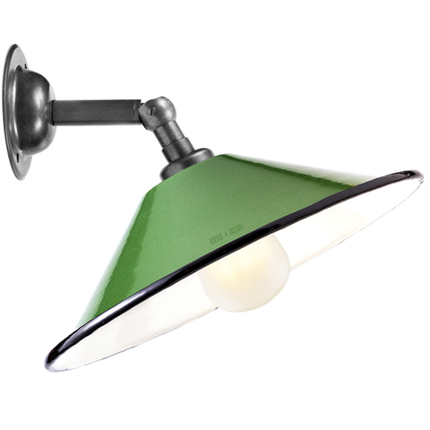 GREEN SMALL CONE SHADE WALL LAMP