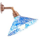 BLUE CONE SHADE SPLATTERWARE WALL LAMP