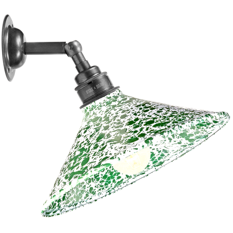 GREEN CONE SHADE SPLATTERWARE WALL LAMP