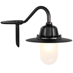 CORNER SWAN NECK SHADED FROSTED LANTERN BLACK
