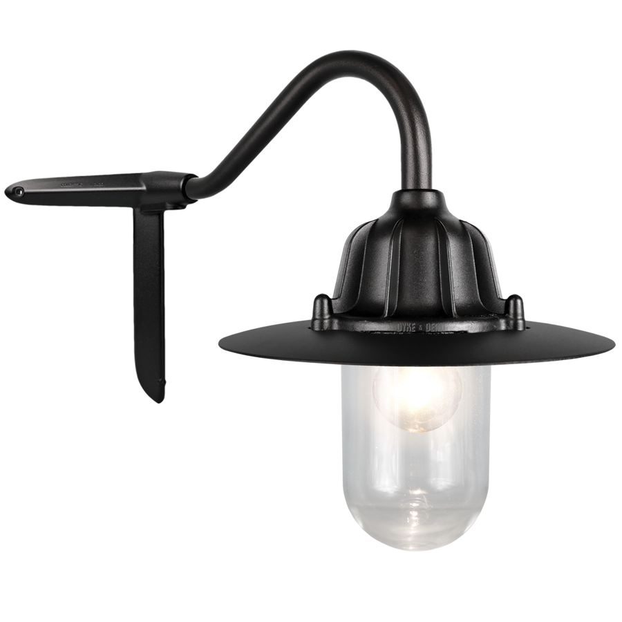 CORNER SWAN NECK SHADED LANTERN BLACK