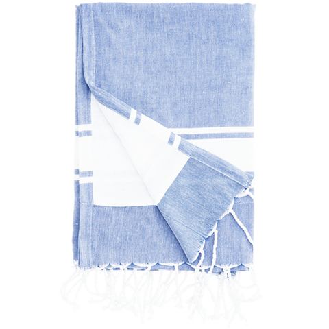 BLUE TOWEL WITH A WHITE STRIPE