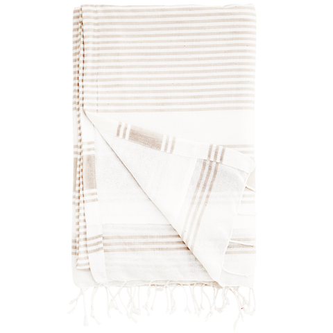 OFF WHITE TOWEL WITH WHITE STRIPES