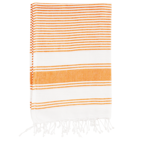 ORANGE TOWEL WITH WHITE STRIPES