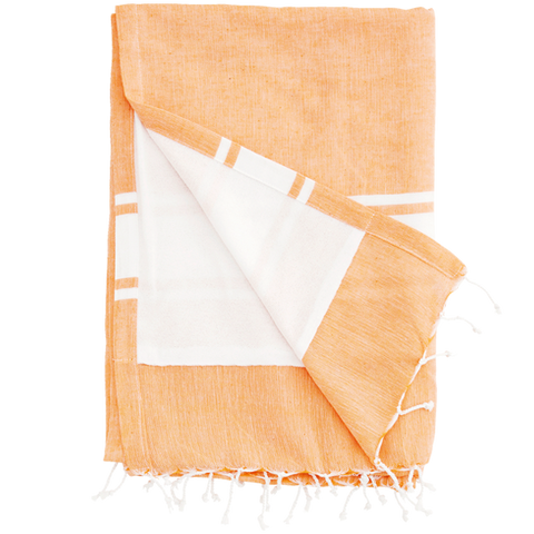 ORANGE TOWEL WITH A WHITE STRIPE