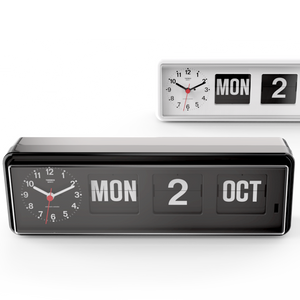 TWEMCO CALENDAR FLIP CLOCK BQ-38 GREY - HOMEWARE - DYKE & DEAN  - Homewares | Lighting | Modern Home Furnishings