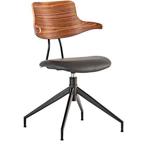 VL119 LEATHER & WOOD SWIVEL CHAIR