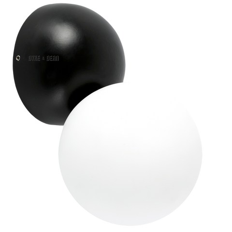 BUD GLOBE OPAL LAMP BLACK - WALL LIGHTS - DYKE & DEAN  - Homewares | Lighting | Modern Home Furnishings