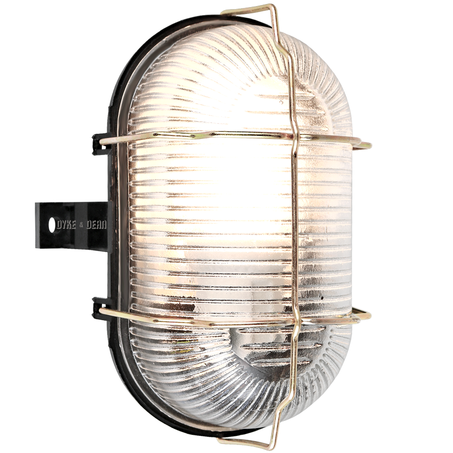 WATERPROOF GLASS & BRASS BLACK BULKHEAD LAMP