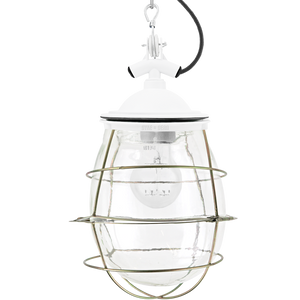 BELL JAR INDUSTRIAL LIGHT WHITE BRASS CAGE