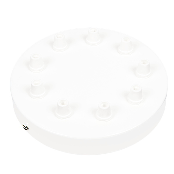 WHITE 9 WAY LARGE CABLE CEILING ROSE