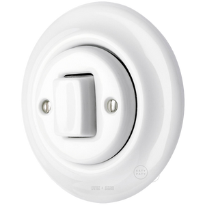 PORCELAIN WALL SWITCH WHITE FAT BUTTON